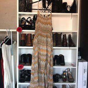 Tribal print high low summer dress w back detail